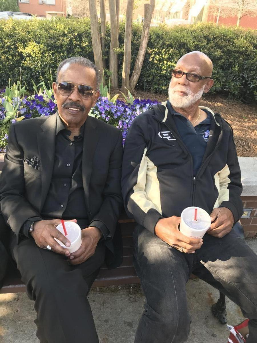 Dr. John Carlos and Joe Madison on Morehouse campus.